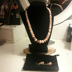 Pink Stone Necklace & Matching Earrings